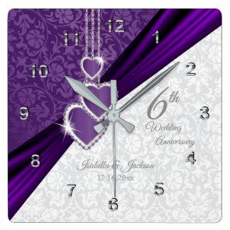 Amethyst purpurfärgad bröllopsdagminnessak för 6e fyrkantig klocka