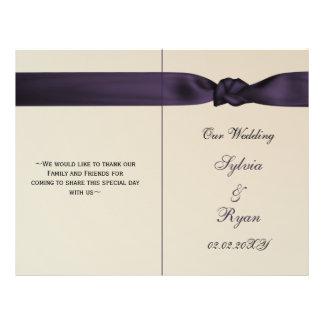 Amethyst purpurfärgade bröllopsprogram för flygblad designs