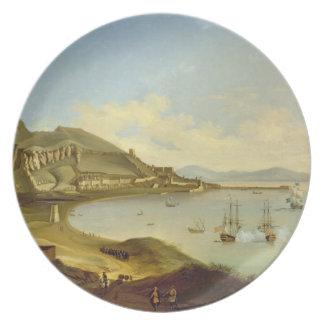 Amiral av blåttskvadronen som ankommer på Gibralta Dinner Plates