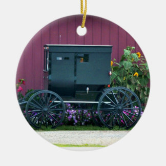 Amish Buggy-Barnyard Julgransprydnad Keramik