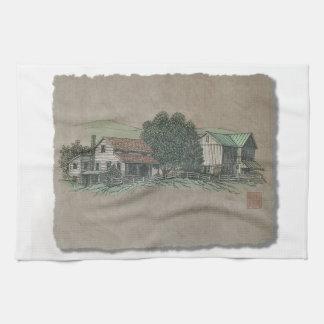 Amish hus & ladugård kökshandduk