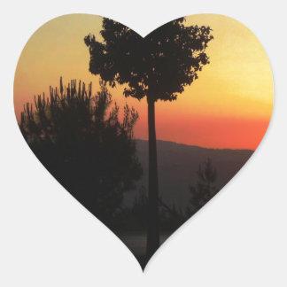 Amman solnedgång 2 hjärtformat klistermärke
