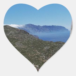 Amorgos kust hjärtformat klistermärke