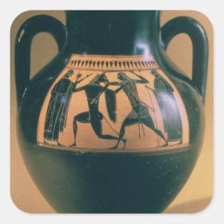 Amphora för loftsvartfigur som visar Theseus och t Fyrkantigt Klistermärke