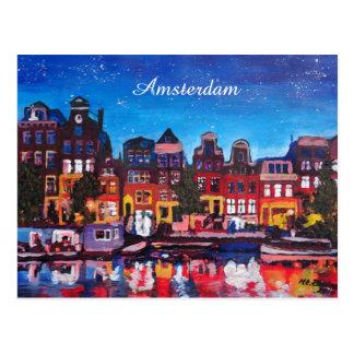 Amsterdam horisont med kanalen på natten vykort