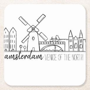 Amsterdam horisont underlägg papper kvadrat