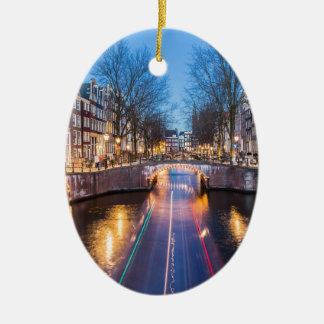 Amsterdam kanaler på natten julgransprydnad keramik