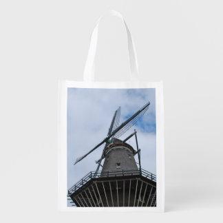 Amsterdam kvarn med blå himmel återanvändbara kassar