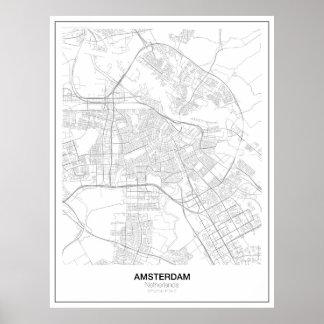 Amsterdam Minimalist kartaaffisch (stil 2) Poster