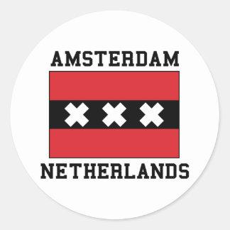 Amsterdam Nederländerna Runt Klistermärke