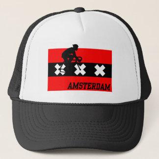 Amsterdam som cyklar manlign truckerkeps