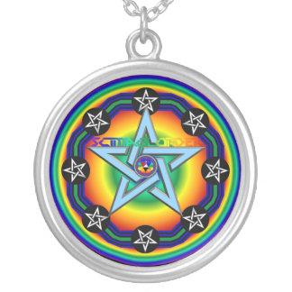 Amulett av Zion skydd Silverpläterat Halsband