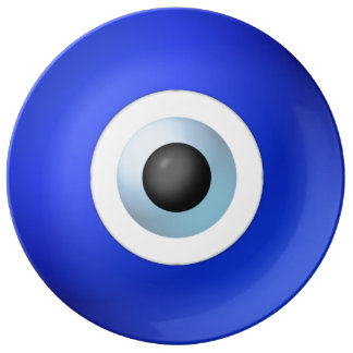 Amulett som ska avvärjas av det onda ögat porslinstallrik