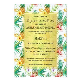 Ananas & hibiskusdestinationsförlovningsfest 12,7 x 17,8 cm inbjudningskort