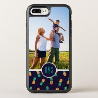 Ananas på Navy| tillfogar din foto & Monogram OtterBox Symmetry iPhone 7 Plus Skal