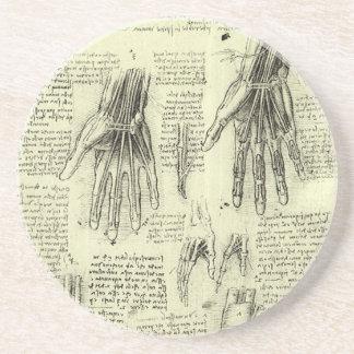 Anatomi av människan räcker vid Leonardo Da Vinci Underlägg Sandsten