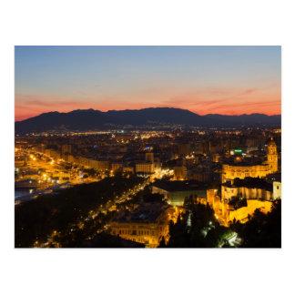 Andalusia - Malaga på solnedgångvykortet Vykort