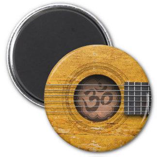 Andlig gitarr för gammal vintage med Om-symbol Magnet Rund 5.7 Cm