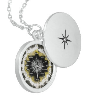 Andlig kompass halsband med rund berlock
