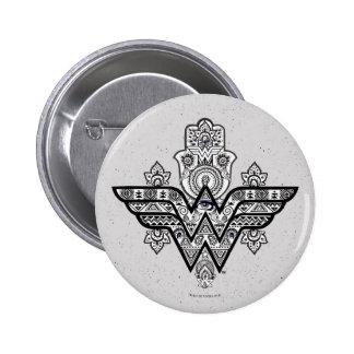 Andlig Paisley Hamsa för undra kvinna logotyp Standard Knapp Rund 5.7 Cm