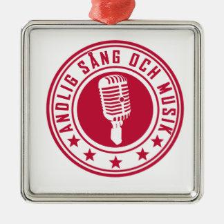 Andlig sång & musik - badge julgransprydnad metall