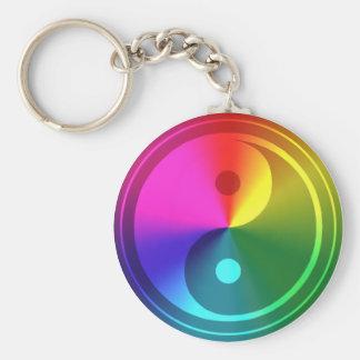 Andliga Yin Yang - regnbågedesign Rund Nyckelring