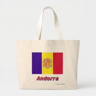 Andorra flagga med namn kassar