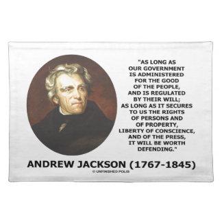 Andrew Jackson regerings- folk ska försvar Bordstablett