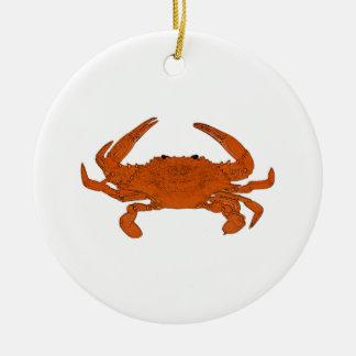 Ångad krabbalogotyp (den atlantiska blåttkrabban) julgransprydnad keramik