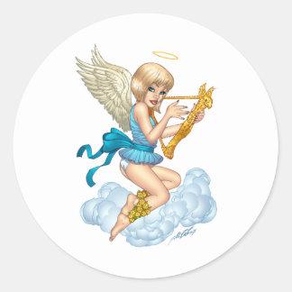 Ängel med gloria och den guld- harpan vid Al Rio Runt Klistermärke