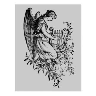 Ängel med harpan och floror vykort