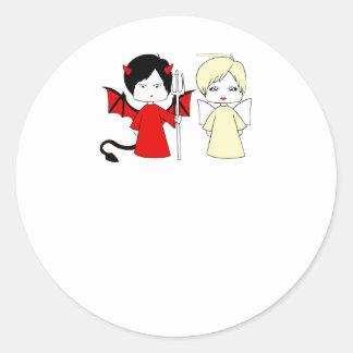 Ängel och djävulen runt klistermärke