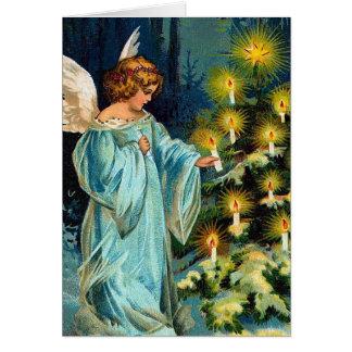 """""""Ängel- och julgran"""" vintage Hälsningskort"""