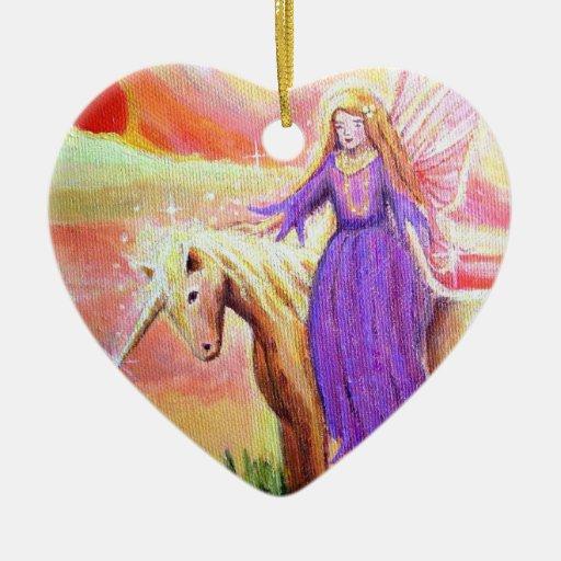 Ängel- och Unicornkonstprydnad Hjärtformad Julgransprydnad I Keramik