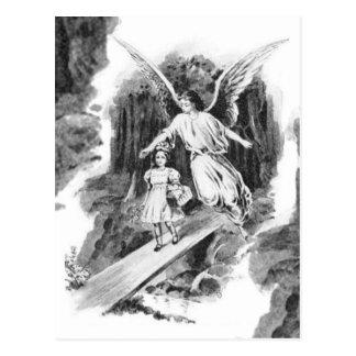 Ängel som bevakar ett flickabarn vykort