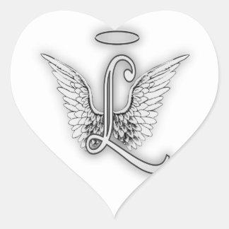 Ängelalfabet L initialt brev påskyndar gloria Hjärtformat Klistermärke