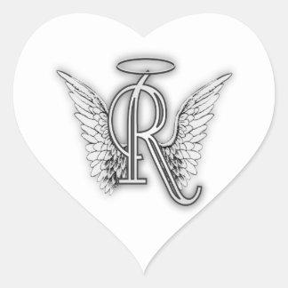 Ängelalfabet R märka med sina initialer Hjärtformat Klistermärke