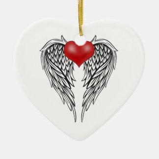 Ängelhjärtatatuering Julgransprydnad Keramik