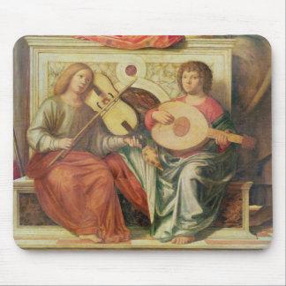 Ängelmusiker från målning av oskulden och musmatta