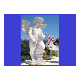 Ängelstaty i blått och grå färg mig 12,7 x 17,8 cm inbjudningskort