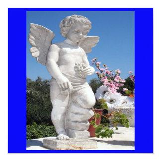 Ängelstaty i blått VI Fyrkantigt 13,3 Cm Inbjudningskort