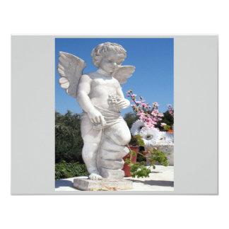Ängelstaty i grå färg II 10,8 X 14 Cm Inbjudningskort