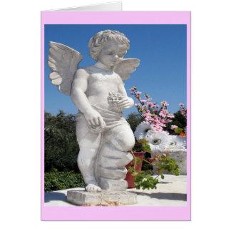 Ängelstaty i rosor hälsningskort