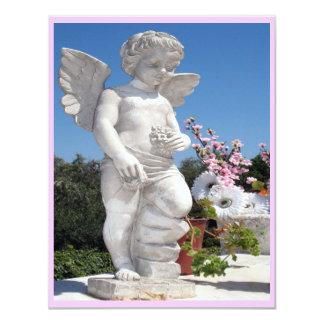 Ängelstaty i rosor och vit III 10,8 X 14 Cm Inbjudningskort