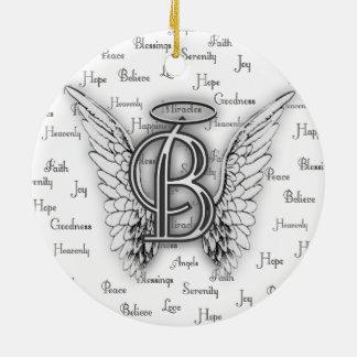Ängelvingar med realitet uttrycker Monogram B Julgransprydnad Keramik