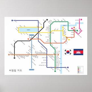 Angkor tempelkarta i koreansk tunnelbananstil poster