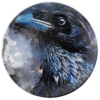 #animals för #bird för kråkakonst#crow porslinstallrik
