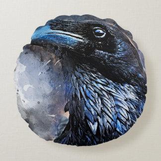 #animals för #bird för kråkakonst#crow rund kudde