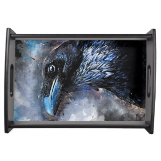 #animals för #bird för kråkakonst#crow serveringsbricka