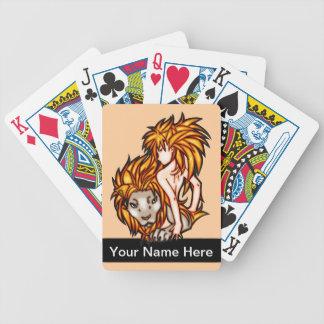 Animeflicka och lejona leka kort spelkort
